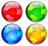 Quattro globi Fotografie Stock Libere da Diritti