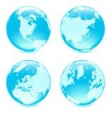 Quattro globi lucidi laterali Fotografia Stock Libera da Diritti