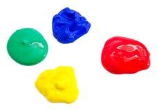 Quattro gouache colorate Immagine Stock Libera da Diritti