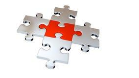 Quattro Grey Puzzle Pieces circondano un pezzo rosso illustrazione vettoriale