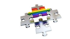 Quattro Grey Puzzle Pieces sotto un pezzo dell'arcobaleno illustrazione vettoriale