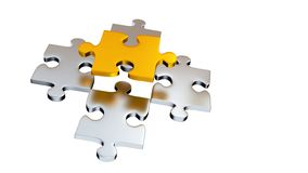 Quattro Grey Puzzle Pieces sotto un pezzo dell'oro illustrazione vettoriale