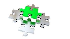 Quattro Grey Puzzle Pieces sotto un pezzo verde illustrazione di stock