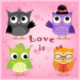 Quattro gufi nell'amore Immagine Stock Libera da Diritti