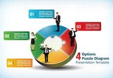 Quattro hanno parteggiato modello della presentazione di puzzle illustrazione di stock