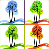 Quattro icone con gli alberi Estate, caduta, inverno, molla Fotografie Stock Libere da Diritti