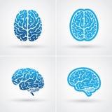 Quattro icone del cervello royalty illustrazione gratis