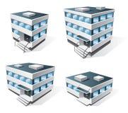 Quattro icone del fumetto degli edifici per uffici Immagine Stock