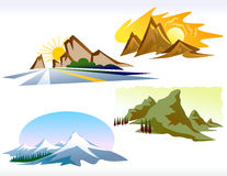 Quattro icone della montagna di stagioni Fotografia Stock