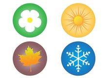 Quattro icone di stagioni Fotografia Stock Libera da Diritti