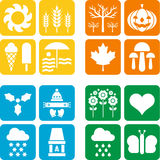 Quattro icone per le quattro stagioni Immagine Stock Libera da Diritti