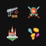 Quattro icone piane del gioco illustrazione vettoriale