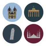 Quattro icone piane del punto di riferimento Fotografia Stock