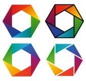 Quattro icone variopinte dell'arcobaleno di spettro di esagono Fotografia Stock Libera da Diritti