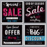 Quattro insegne nere quadrate con la vendita offrono, vector Fotografia Stock