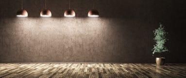 Quattro lampade e piante sopra la rappresentazione blu del muro di cemento 3d Fotografie Stock Libere da Diritti