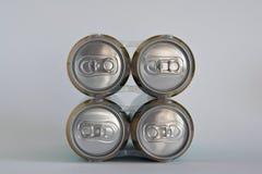 Quattro latte di birra Fotografia Stock Libera da Diritti
