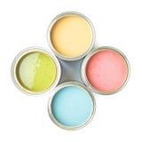 Quattro latte di pittura isolate Fotografia Stock Libera da Diritti