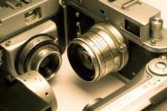 Quattro macchine fotografiche della foto   Fotografie Stock Libere da Diritti