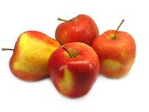Quattro mele rosse. Fotografia Stock