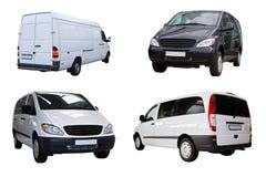 Quattro mini furgoni fotografia stock libera da diritti