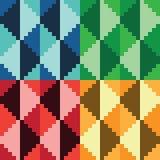 Quattro modelli geomatrical astratti senza cuciture del diamante del pixel Fotografia Stock Libera da Diritti