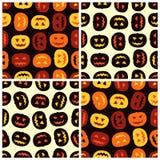 Quattro modelli senza cuciture delle zucche di Halloween determinati Fotografia Stock Libera da Diritti