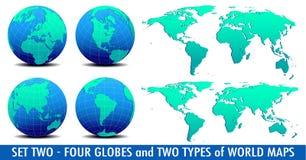 Quattro mondi globali e due mappe di mondo - INSIEME DUE illustrazione di stock