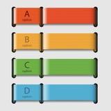 Quattro nastri colorati con i dati Immagine Stock Libera da Diritti