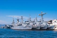 Quattro navi da guerra brasiliane della marina in una fila Fotografie Stock Libere da Diritti