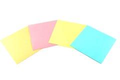 Quattro note di ricordo di colore immagine stock