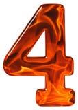 4, quattro, numero da vetro con un modello astratto di un flamin Immagine Stock Libera da Diritti