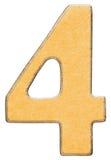 4, quattro, numero di legno si sono combinati con l'inserzione gialla, isolata sopra Fotografia Stock