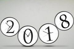 Quattro orologi con il numero 2018 Fotografie Stock