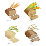 Quattro pani con le fette e le orecchie del cereale Parte due Fotografia Stock Libera da Diritti