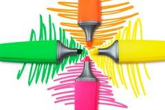 Quattro penne dell'evidenziatore Immagine Stock