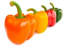 Quattro peperoni dolci dei peperoni verdi isolati su fondo bianco Immagine Stock Libera da Diritti