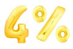 Quattro per cento dorati fatti dei palloni gonfiabili Fotografie Stock Libere da Diritti