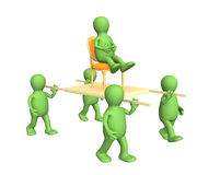 Quattro persone 3d, trasportanti il capo su una barella Immagine Stock Libera da Diritti