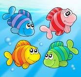 Quattro pesci svegli Fotografia Stock