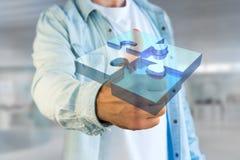 Quattro pezzi di puzzle che fanno un logo su un'interfaccia futuristica - 3d Immagini Stock Libere da Diritti