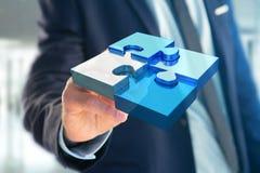 Quattro pezzi di puzzle che fanno un logo su un'interfaccia futuristica - 3d Immagini Stock