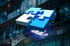 Quattro pezzi di puzzle che fanno un logo su un'interfaccia futuristica - 3d Immagine Stock Libera da Diritti