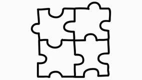Quattro pezzi di puzzle hanno collegato insieme l'animazione con backg trasparente illustrazione di stock