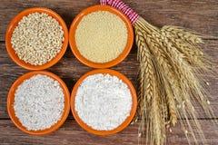 Quattro piccole ciotole con grano intero, cuscus, farina integrale, farina non specifica ed il covone delle orecchie del grano Immagine Stock