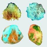 Quattro pietre disegnate a mano astratte dell'acquerello Fotografie Stock
