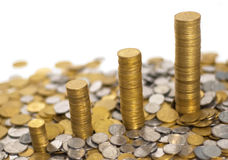 Quattro pile di soldi Immagine Stock Libera da Diritti