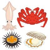 Quattro prodotti del mare messi illustrazione vettoriale