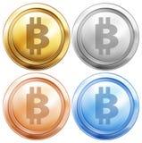 Quattro progettazioni dei bitcoins Fotografie Stock Libere da Diritti