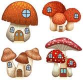Quattro progettazioni delle case del fungo illustrazione vettoriale